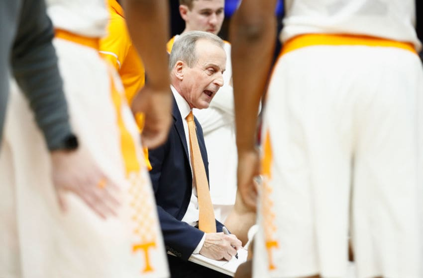 ST LOUIS, MO - MARCH 10: Rick Barnes the head coach of the Tennessee Volunteers gives instructions to his team against the Arkansas Razorbacks during the semifinals of the 2018 SEC Basketball Tournament at Scottrade Center on March 10, 2018 in St Louis, Missouri. (Photo by Andy Lyons/Getty Images)