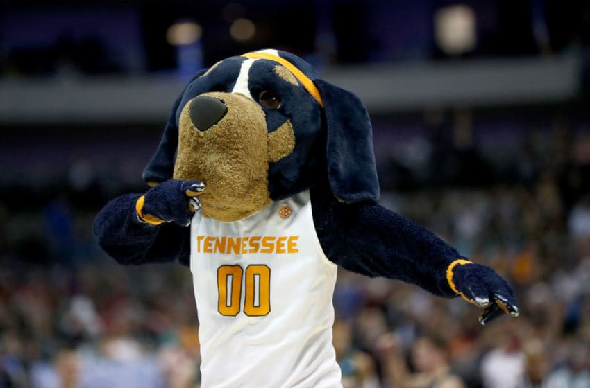 DALLAS, TX - MARCH 15: Smokey, the mascot of the Tennessee Volunteers, performs during a time out in the second half against the Wright State Raiders in the first round of the 2018 NCAA Men's Basketball Tournament at American Airlines Center on March 15, 2018 in Dallas, Texas. (Photo by Ronald Martinez/Getty Images)