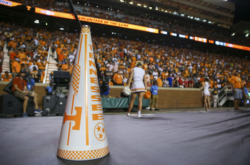KNOXVILLE, TENNESSEE - OCTOBER 05: A Tennessee Volunteers megaphone sits on the sideline during the game against the Georgia Bulldogs at Neyland Stadium on October 05, 2019 in Knoxville, Tennessee. (Photo by Silas Walker/Getty Images)
