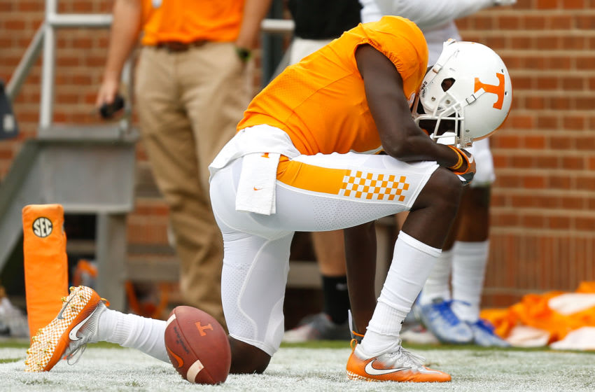 KNOXVILLE, TN - SEPTEMBER 09: Brandon Johnson #7 of the Tennessee Volunteers reacts after a touchdown during the game against the Indiana State Sycamores at Neyland Stadium on September 9, 2017 in Knoxville, Tennessee. (Photo by Michael Reaves/Getty Images)