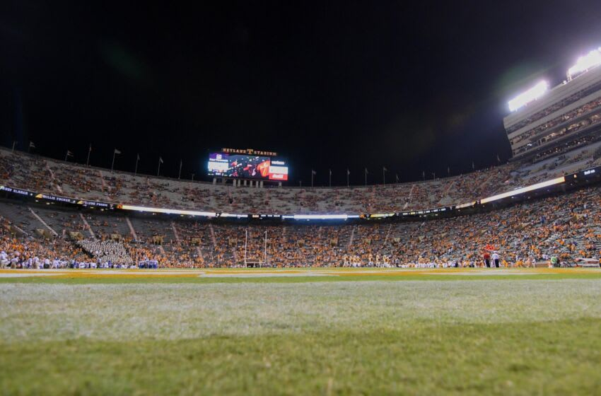 Sep 22, 2018; Knoxville, TN, USA; General view of Neyland Stadium during the fourth quarter of the game between the Florida Gators and the Tennessee Volunteers. Florida won 47 to 21. Mandatory Credit: Randy Sartin-USA TODAY Sports