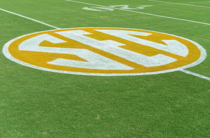 Sep 22, 2018; Knoxville, TN, USA; SEC logo on the field at Neyland Stadium before a game between the Tennessee Volunteers and Florida Gators. Mandatory Credit: Bryan Lynn-USA TODAY Sports