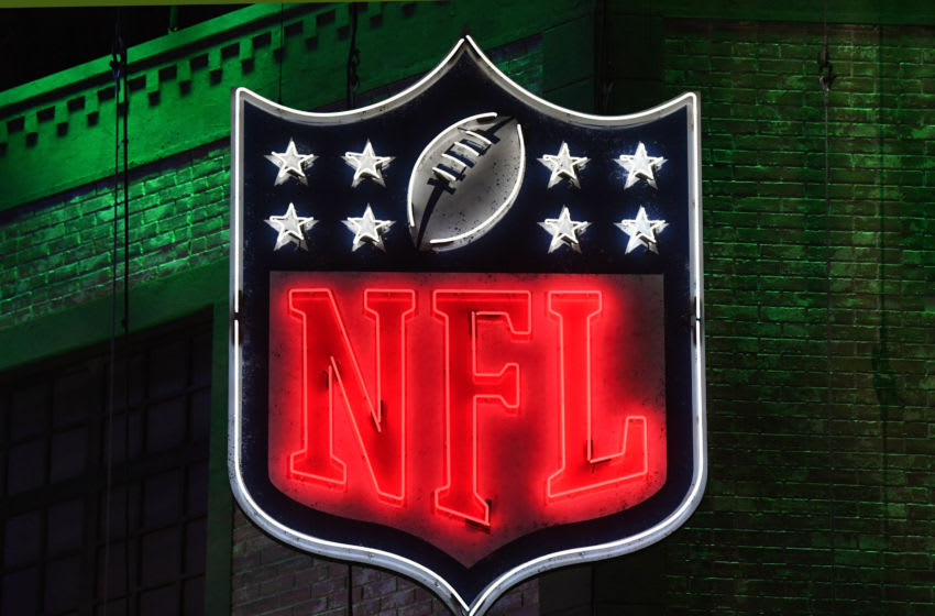 Apr 25, 2019; Nashville, TN, USA; Detailed view of neon NFL shield logo during the first round of the 2019 NFL Draft in downtown Nashville. Mandatory Credit: Kirby Lee-USA TODAY Sports