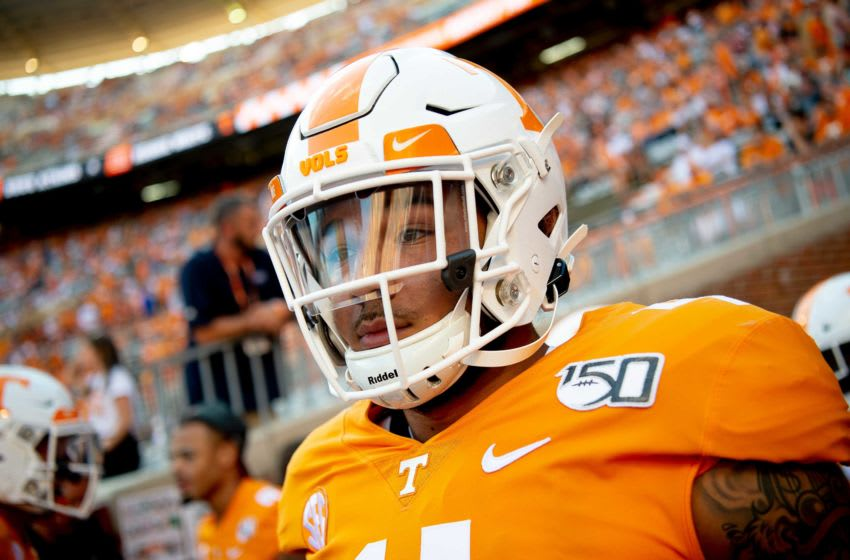 Tennessee tight end Dominick Wood-Anderson (4) takes the field ahead of a game between Tennessee and BYU at Neyland Stadium in Knoxville, Tennessee on Saturday, September 7, 2019. Utbyu0907