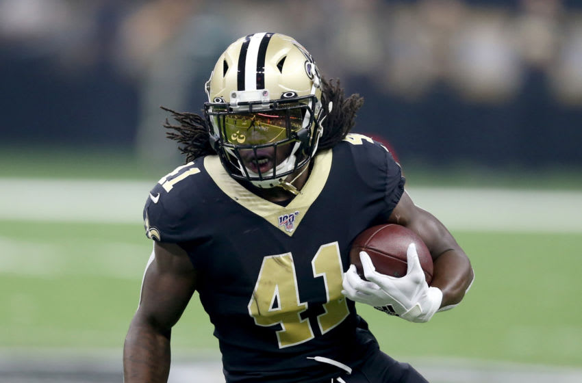 Sep 9, 2019; New Orleans, LA, USA; New Orleans Saints running back Alvin Kamara (41) runs after a catch against the Houston Texans during the first quarter at the Mercedes-Benz Superdome. Mandatory Credit: Chuck Cook-USA TODAY Sports