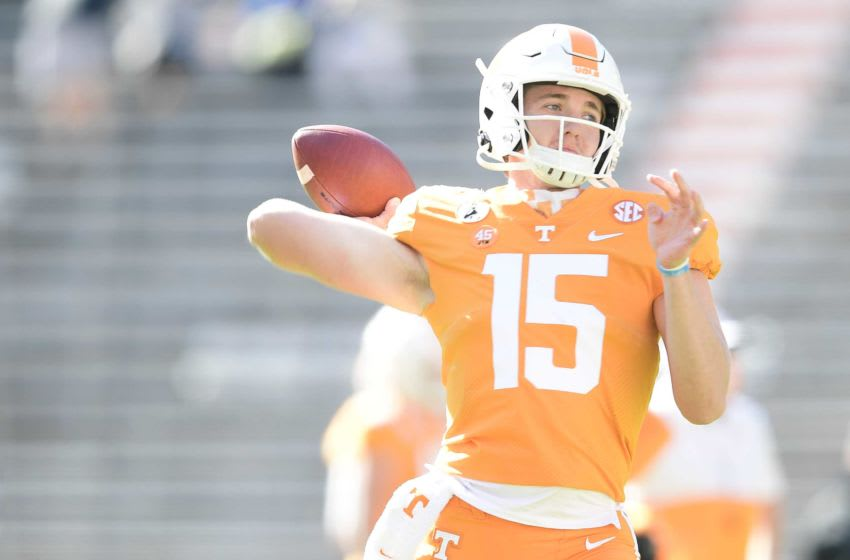 Tennessee quarterback Harrison Bailey (15) warms up before a game between Tennessee and Kentucky at Neyland Stadium in Knoxville, Tenn. on Saturday, Oct. 17, 2020. 101720 Tenn Ky Pregame