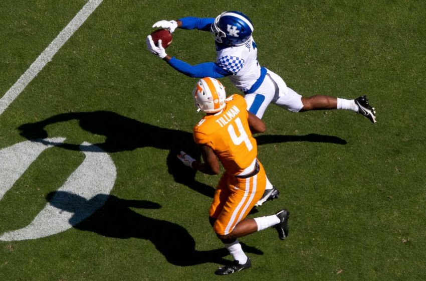 Kentucky defensive back Kelvin Joseph (1) intercepts a pass intended for Tennessee wide receiver Cedric Tillman (4) ** Tennessee running back Len'Neth Whitehead (4) during a SEC conference football game between the Tennessee Volunteers and the Kentucky Wildcats held at Neyland Stadium in Knoxville, Tenn., on Saturday, October 17, 2020. Kns Ut Football Kentucky Bp