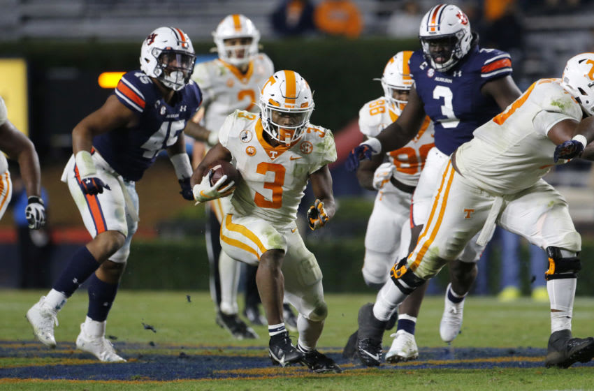 Nov 21, 2020; Auburn, Alabama, USA; Tennessee Volunteers running back Eric Gray (3) carries against the Auburn Tigers during the third quarter at Jordan-Hare Stadium. Mandatory Credit: John Reed-USA TODAY Sports