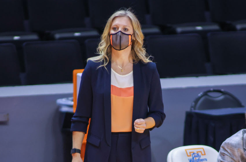 Nov 28, 2020; Knoxville, Tennessee, USA; Tennessee Lady Vols head coach Kellie Harper during the first half against the Western Kentucky Lady Toppers at Thompson-Boling Arena. Mandatory Credit: Randy Sartin-USA TODAY Sports