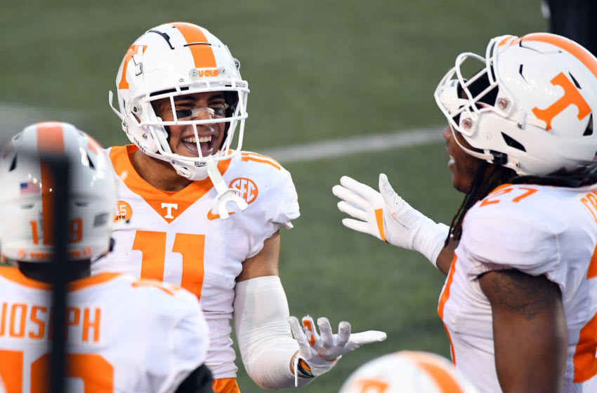 Dec 12, 2020; Nashville, Tennessee, USA; Tennessee Volunteers linebacker Henry To'o To'o (11) celebrates after a defensive stop during the first half against the Vanderbilt Commodores at Vanderbilt Stadium. Mandatory Credit: Christopher Hanewinckel-USA TODAY Sports