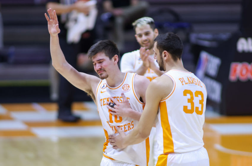 Mar 7, 2021; Knoxville, Tennessee, USA; Tennessee Volunteers forward John Fulkerson (10) reacts as he leaves the court during the second half against the Florida Gators at Thompson-Boling Arena. Mandatory Credit: Randy Sartin-USA TODAY Sports