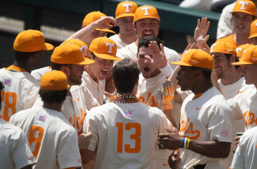 Tennessee's Andre Lipcius (13) is congratulated by teammates after hitting three-run homer against Missouri at Lindsey Nelson Stadium on Sunday, May 5, 2019. Kns Vols Baseball Missouri