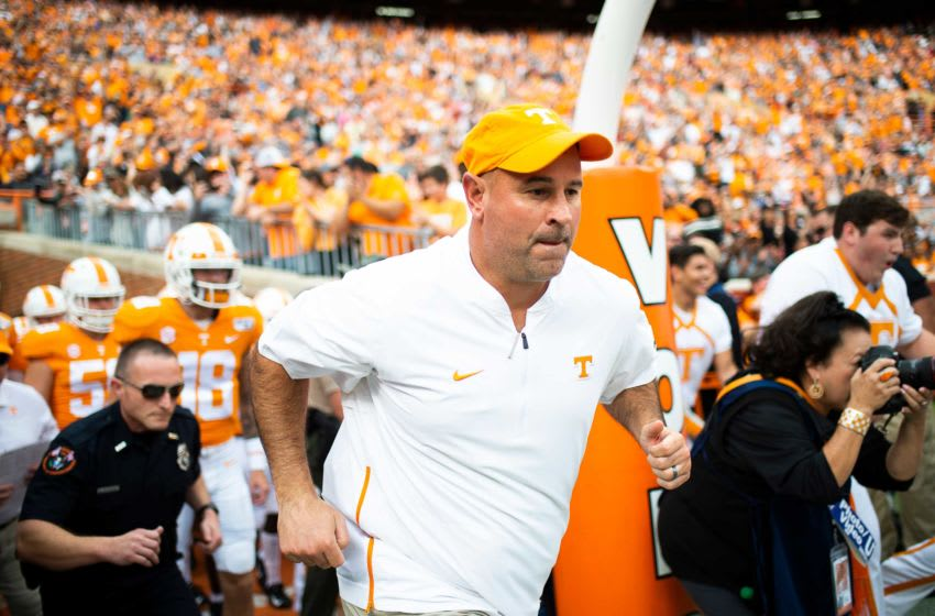 Tennessee Head Coach Jeremy Pruitt takes the field during a game between Tennessee and South Carolina at Neyland Stadium in Knoxville, Tennessee on Saturday, October 26, 2019. Utvsc1026 RANK 1