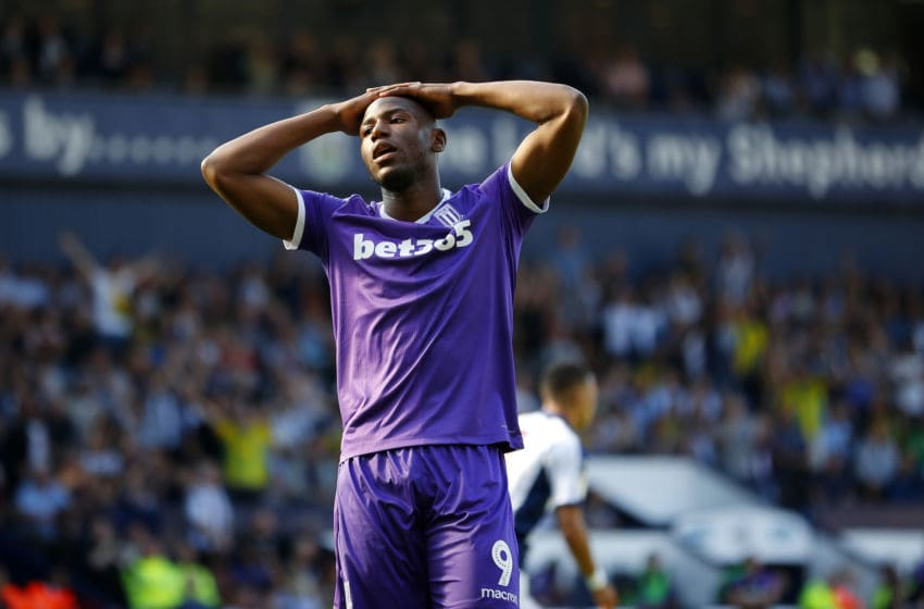 WEST BROMWICH, ENGLAND - SEPTEMBER 01: Benik Afobe of Stoke City reacts to missing a penalty during the Sky Bet Championship match between West Bromwich Albion and Stoke City at The Hawthorns on September 1, 2018 in West Bromwich, England. (Photo by Lynne Cameron/Getty Images)