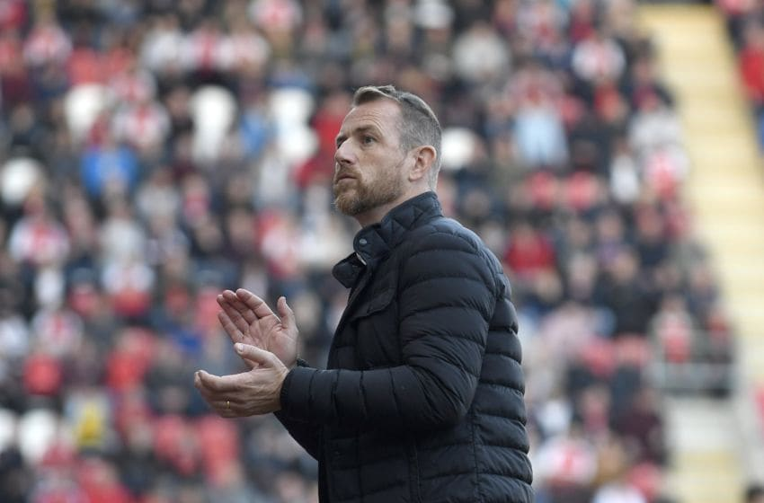 ROTHERHAM, ENGLAND - SEPTEMBER 29: Stoke City manager Gary Rowett urges on his team during the Sky Bet Championship match between Rotherham United and Stoke City at The New York Stadium on September 29, 2018 in Rotherham, England. (Photo by George Wood/Getty Images)