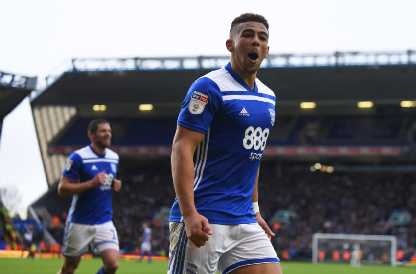 BIRMINGHAM, ENGLAND - OCTOBER 27: Che Adams of Birmingham celebrates as he scores the third goal during the Sky Bet Championship match between Birmingham City and Sheffield Wednesday at St Andrew's Trillion Trophy Stadium on October 27, 2018 in Birmingham, England. (Photo by Nathan Stirk/Getty Images)