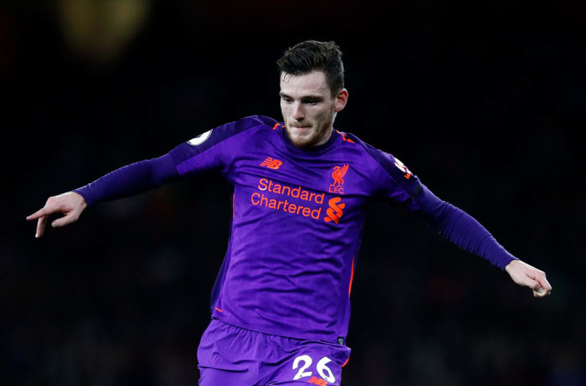 LONDON, ENGLAND - NOVEMBER 03: Andrew Robertson of Liverpool in action during the Premier League match between Arsenal FC and Liverpool FC at Emirates Stadium on November 3, 2018 in London, United Kingdom. (Photo by Julian Finney/Getty Images)