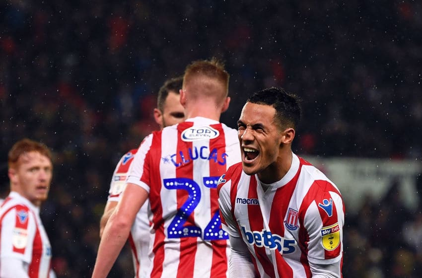 STOKE ON TRENT, ENGLAND - NOVEMBER 28: Tom Ince of Stoke City celebrates after scoring their second goal during the Sky Bet Championship match between Stoke City and Derby County at Bet365 Stadium on November 28, 2018 in Stoke on Trent, England. (Photo by Gareth Copley/Getty Images)
