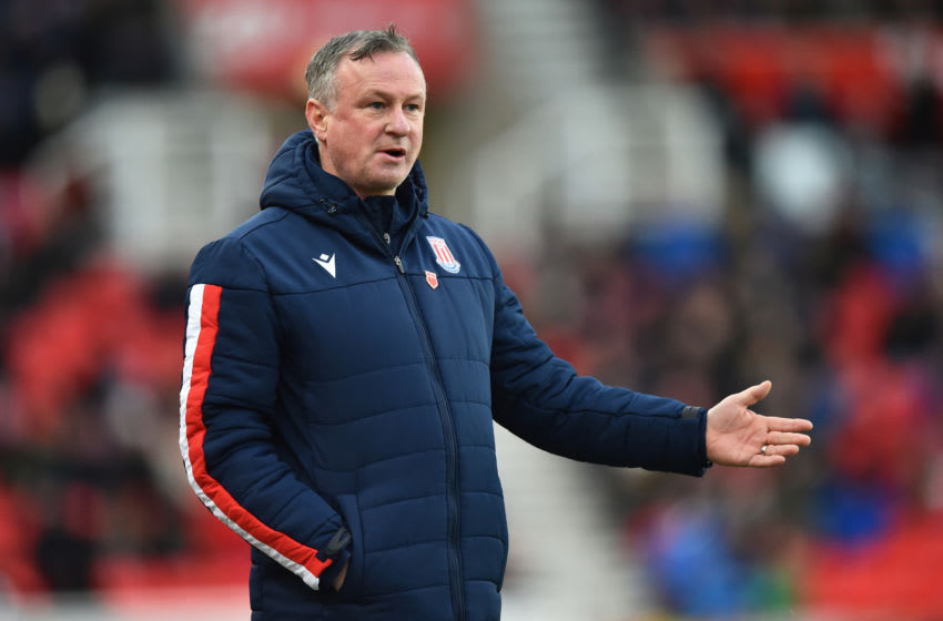 STOKE ON TRENT, ENGLAND - DECEMBER 14: Michael O'Neill manager of Stoke City gestures during the Sky Bet Championship match between Stoke City and Reading at Bet365 Stadium on December 14, 2019 in Stoke on Trent, England. (Photo by Nathan Stirk/Getty Images)