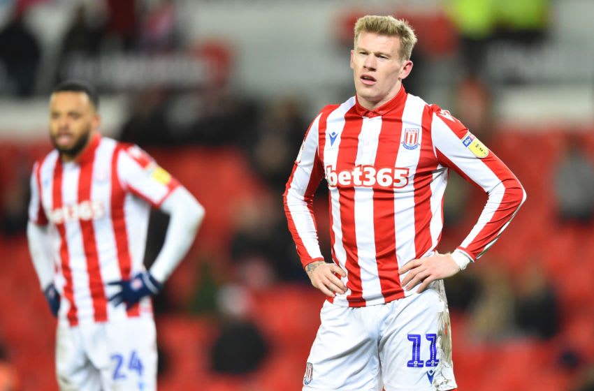 STOKE ON TRENT, ENGLAND - DECEMBER 14: James McClean of Stoke City shows his dejection during the Sky Bet Championship match between Stoke City and Reading at Bet365 Stadium on December 14, 2019 in Stoke on Trent, England. (Photo by Nathan Stirk/Getty Images)