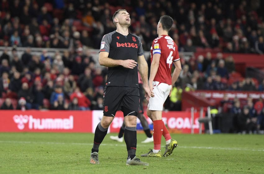 MIDDLESBROUGH, ENGLAND - DECEMBER 20: Sam Vokes of Stoke City reacts during the Sky Bet Championship match between Middlesbrough and Stoke City at Riverside Stadium on December 20, 2019 in Middlesbrough, England. (Photo by George Wood/Getty Images)