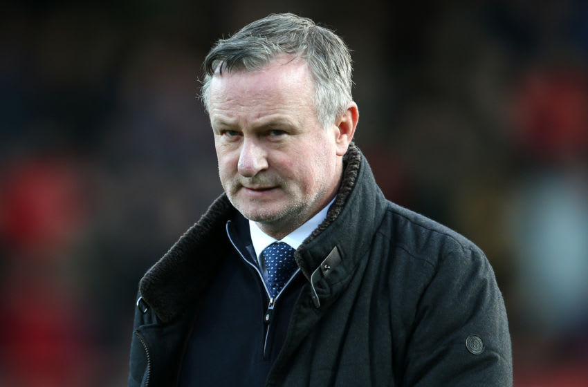 BRENTFORD, ENGLAND - JANUARY 04: Michael O'Neill, Manager of of Stoke City looks on prior to the FA Cup Third Round match between Brentford FC and Stoke City at Griffin Park on January 04, 2020 in Brentford, England. (Photo by Steve Bardens/Getty Images)