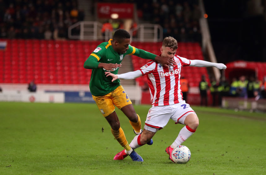 STOKE ON TRENT, ENGLAND - FEBRUARY 12: Darnell Fisher of Preston North End fouls Thibaud Verlinden of Stoke City who has to leave the field due to injury during the Sky Bet Championship match between Stoke City and Preston North End at Bet365 Stadium on February 12, 2020 in Stoke on Trent, England. (Photo by James Williamson - AMA/Getty Images)