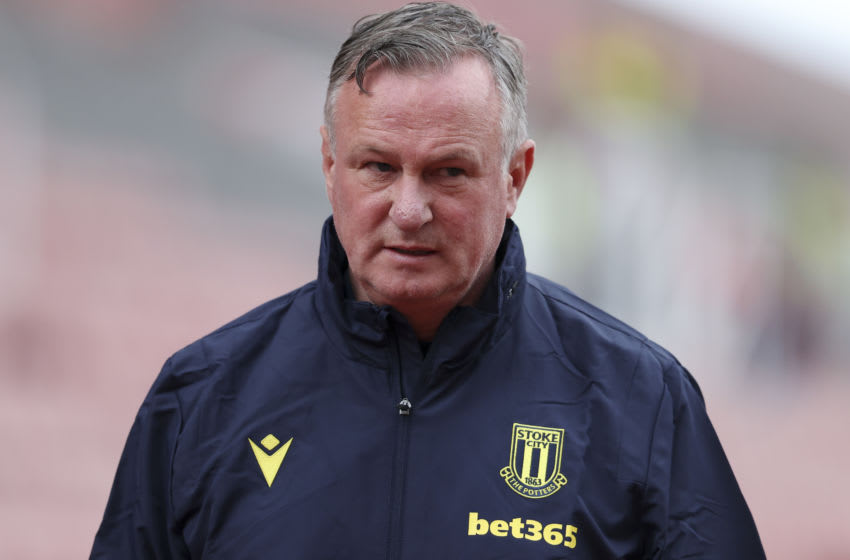 STOKE ON TRENT, ENGLAND - AUGUST 29: Michael O'Neill the head coach / manager of Stoke City during the Carabao Cup First Round match between Stoke City v Blackpool at Bet365 Stadium on August 29, 2020 in Stoke on Trent, England. (Photo by James Baylis - AMA/Getty Images)