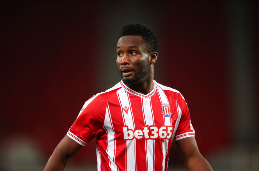 STOKE ON TRENT, ENGLAND - NOVEMBER 24: Mikel John Obi of Stoke City during the Sky Bet Championship match between Stoke City and Norwich City at Bet365 Stadium on November 24, 2020 in Stoke on Trent, England. Sporting stadiums around the UK remain under strict restrictions due to the Coronavirus Pandemic as Government social distancing laws prohibit fans inside venues resulting in games being played behind closed doors. (Photo by Robbie Jay Barratt - AMA/Getty Images)