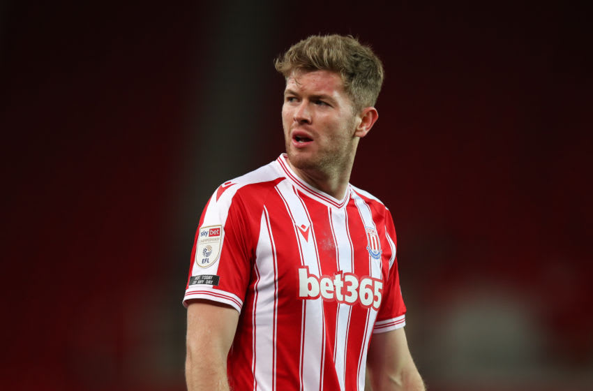 STOKE ON TRENT, ENGLAND - NOVEMBER 24: Nathan Collins of Stoke City during the Sky Bet Championship match between Stoke City and Norwich City at Bet365 Stadium on November 24, 2020 in Stoke on Trent, England. Sporting stadiums around the UK remain under strict restrictions due to the Coronavirus Pandemic as Government social distancing laws prohibit fans inside venues resulting in games being played behind closed doors. (Photo by Robbie Jay Barratt - AMA/Getty Images)