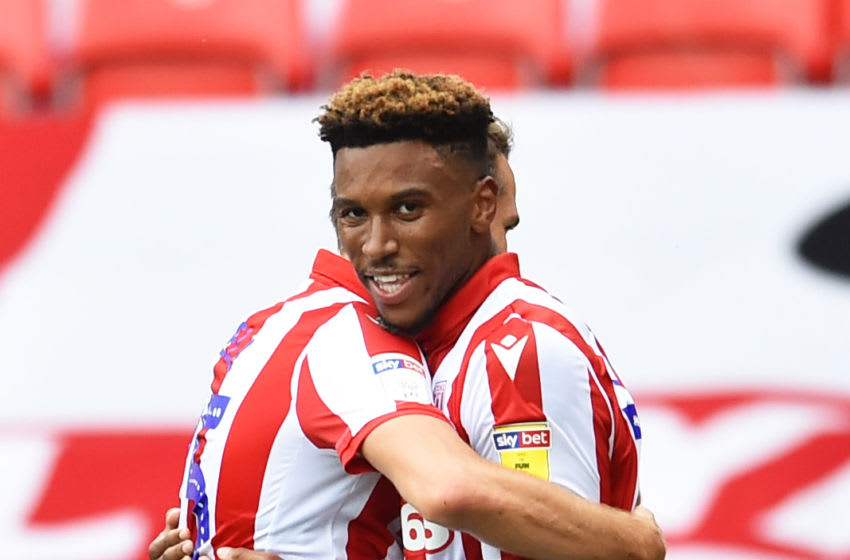 STOKE ON TRENT, ENGLAND - JULY 04: Tyrese Campbell of Stoke City celebrates as he scores their third goal of the game during the Sky Bet Championship match between Stoke City and Barnsley at Bet365 Stadium on July 04, 2020 in Stoke on Trent, England. (Photo by Nathan Stirk/Getty Images)