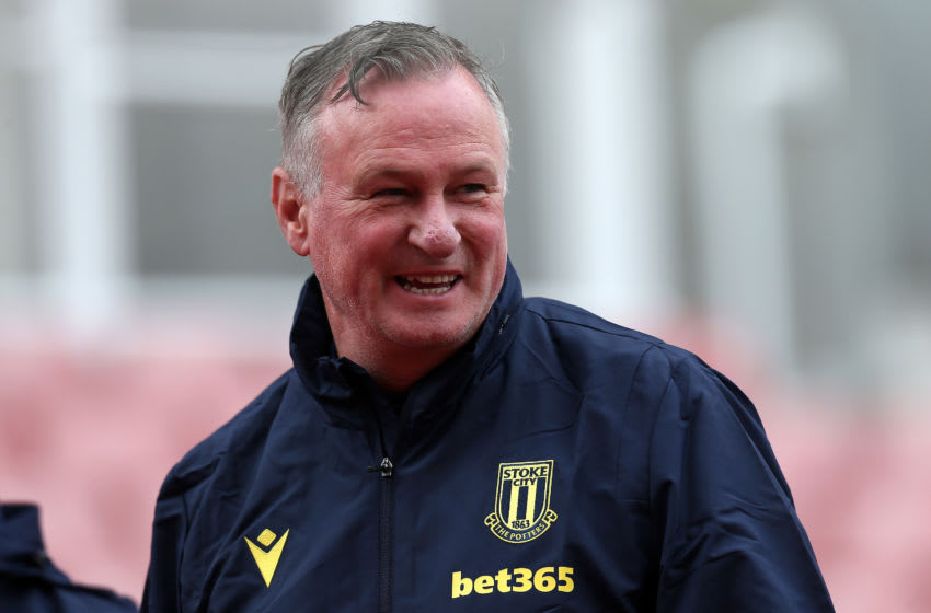 STOKE ON TRENT, ENGLAND - AUGUST 29: Michael O'Neill, manager of Stoke City reacts during the Carabao Cup First Round match between Stoke City and Blackpool at Bet365 Stadium on August 29, 2020 in Stoke on Trent, England. (Photo by Lewis Storey/Getty Images)