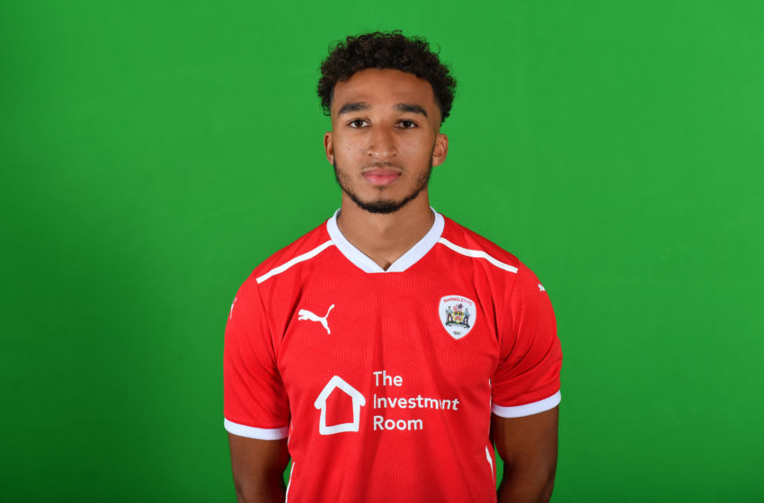 BARNSLEY,ENGLAND - AUGUST 27: Barnsley's Jacob Brown poses during the Barnsley FC 20-21 photocall on August 27,2020 in Barnsley,England. (Photo by MB Media/Getty Images)