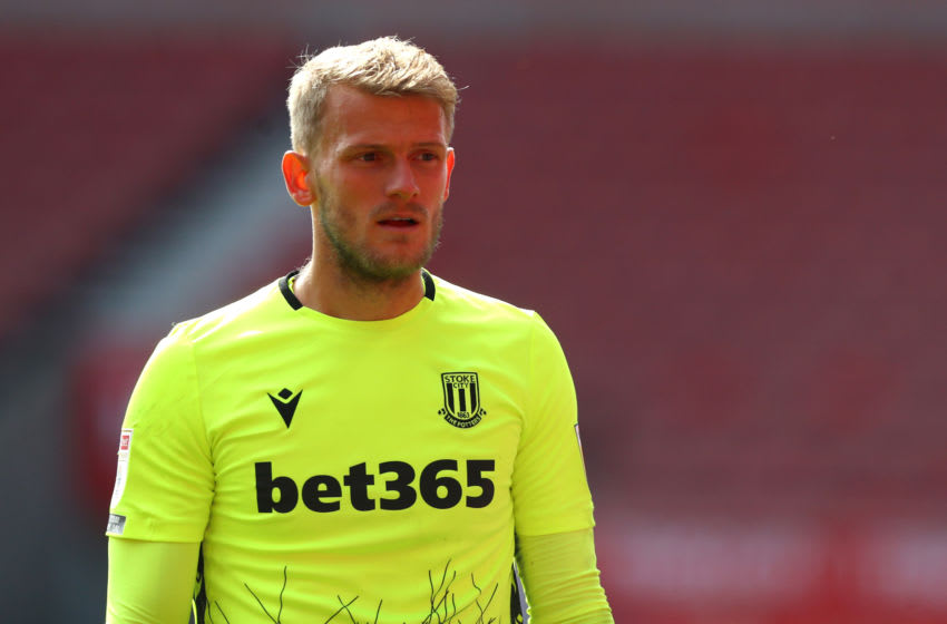 STOKE ON TRENT, ENGLAND - SEPTEMBER 20: Adam Davies of Stoke City during the Sky Bet Championship match between Stoke City and Bristol City at Bet365 Stadium on September 20, 2020 in Stoke on Trent, England. (Photo by Chloe Knott - Danehouse/Getty Images)