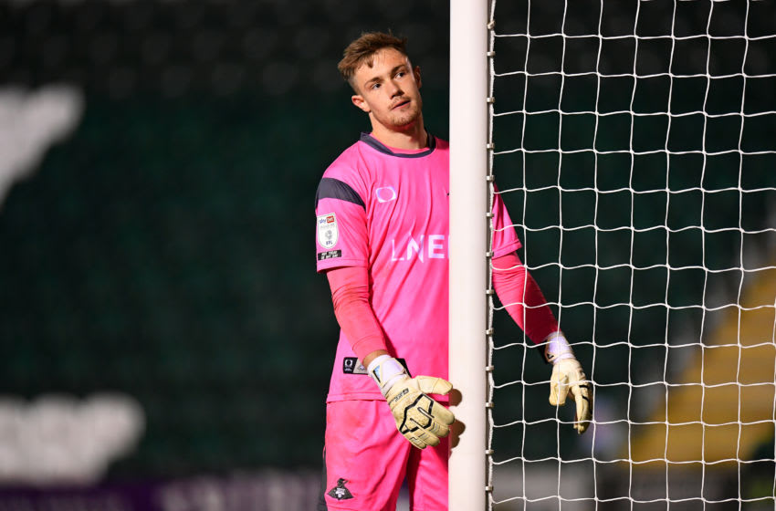 PLYMOUTH, ENGLAND - OCTOBER 27: Josef Bursik of Doncaster Rovers looks dejected during the Sky Bet League One match between Plymouth Argyle and Doncaster Rovers at Home Park on October 27, 2020 in Plymouth, England. Sporting stadiums around the UK remain under strict restrictions due to the Coronavirus Pandemic as Government social distancing laws prohibit fans inside venues resulting in games being played behind closed doors. (Photo by Dan Mullan/Getty Images)