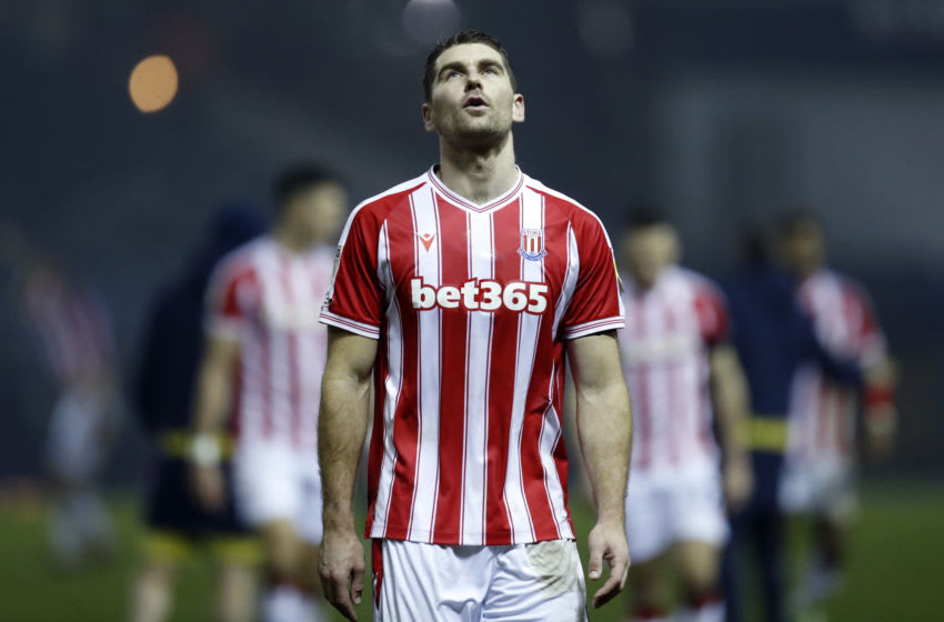 SHEFFIELD, ENGLAND - NOVEMBER 28: Sam Vokes of Stoke City reacts following the Sky Bet Championship match between Sheffield Wednesday and Stoke City at Hillsborough Stadium on November 28, 2020 in Sheffield, England. Sporting stadiums around the UK remain under strict restrictions due to the Coronavirus Pandemic as Government social distancing laws prohibit fans inside venues resulting in games being played behind closed doors. (Photo by George Wood/Getty Images)
