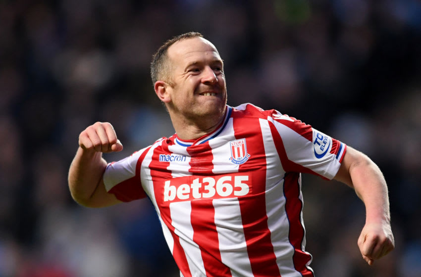 COVENTRY, ENGLAND - JANUARY 06: Charlie Adam of Stoke City celebrates scoring the first Stoke goal during the The Emirates FA Cup Third Round match between Coventry City and Stoke City at Ricoh Arena on January 6, 2018 in Coventry, England. (Photo by Laurence Griffiths/Getty Images)