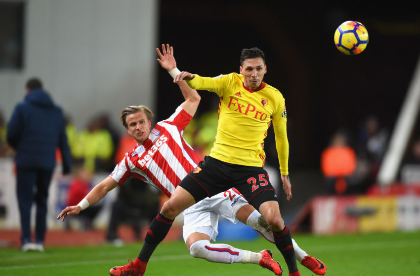 STOKE ON TRENT, ENGLAND - JANUARY 31: Moritz Bauer of Stoke City challenges Jose Holebas of Watford during the Premier League match between Stoke City and Watford at Bet365 Stadium on January 31, 2018 in Stoke on Trent, England. (Photo by Tony Marshall/Getty Images)