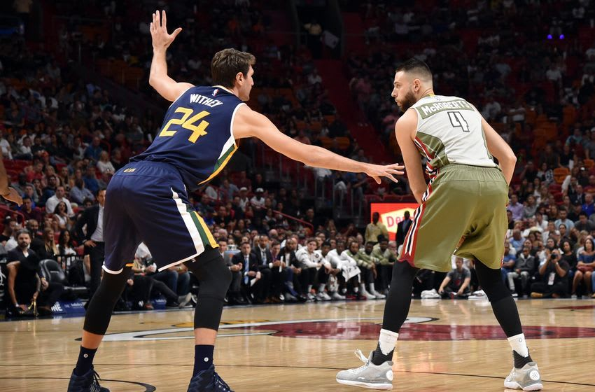 Nov 12, 2016; Miami, FL, USA; Miami Heat forward Josh McRoberts (4) is pressured by Utah Jazz center Jeff Withey (24) during the first half at American Airlines Arena. Mandatory Credit: Steve Mitchell-USA TODAY Sports
