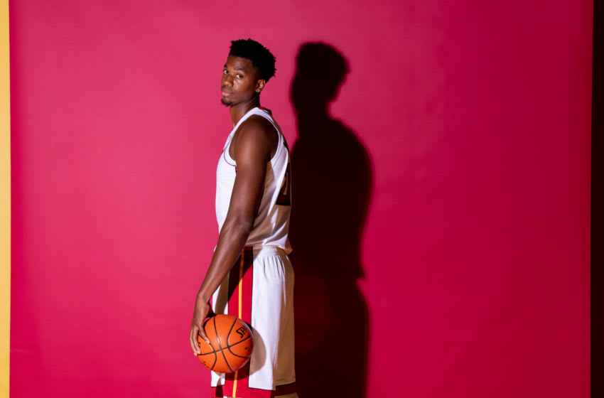MIAMI, FL - SEPTEMBER 24: A media day portrait of Hassan Whiteside #21 of the Miami Heat on September 24, 2018 in Miami, Florida. NOTE TO USER: User expressly acknowledges and agrees that, by downloading and or using this Photograph, user is consenting to the terms and conditions of the Getty Images License Agreement. (Photo by Rob Foldy/Getty Images)