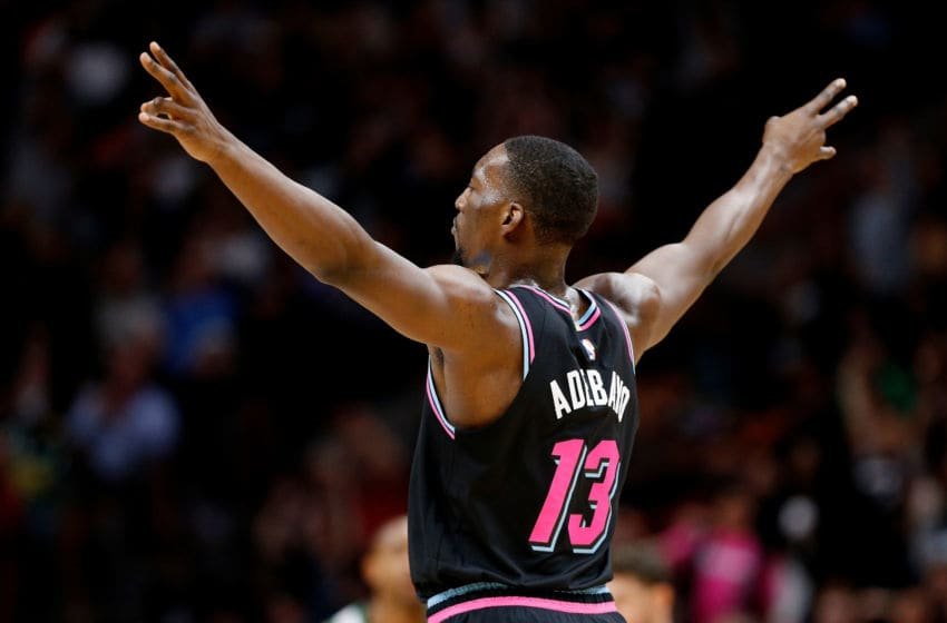 MIAMI, FL - JANUARY 10: Bam Adebayo #13 of the Miami Heat reacts against the Boston Celtics during the second half at American Airlines Arena on January 10, 2019 in Miami, Florida. NOTE TO USER: User expressly acknowledges and agrees that, by downloading and or using this photograph, User is consenting to the terms and conditions of the Getty Images License Agreement. (Photo by Michael Reaves/Getty Images)
