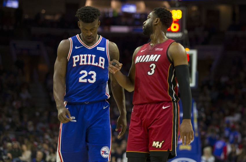 Jimmy Butler #23 Dwyane Wade #3 of the Miami Heat (Photo by Mitchell Leff/Getty Images)