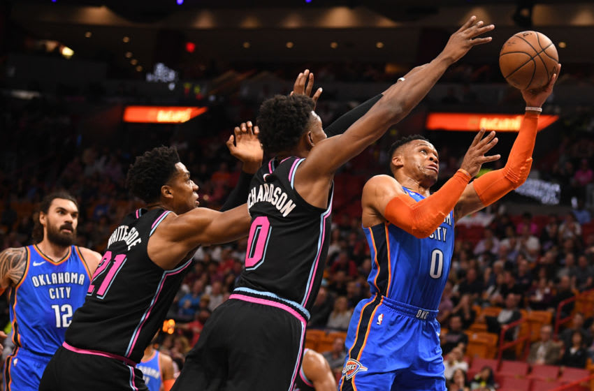 Russell Westbrook #0 of the Oklahoma City Thunder in action against the Miami Heat (Photo by Mark Brown/Getty Images)