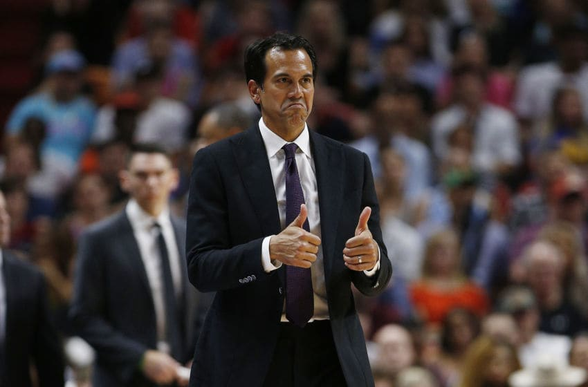 Head coach Erik Spoelstra of the Miami Heat reacts against the Golden State Warriors (Photo by Michael Reaves/Getty Images)