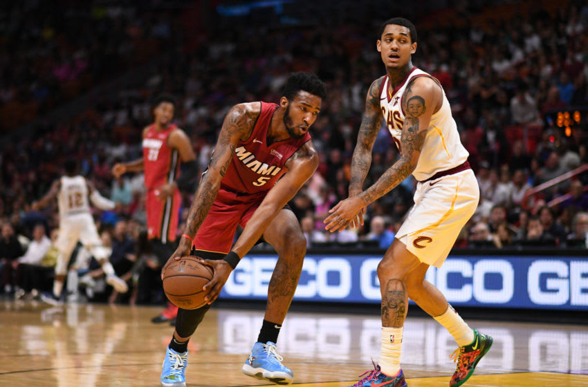 Derrick Jones Jr. #5 of the Miami Heat in action during the game against the Cleveland Cavaliers (Photo by Mark Brown/Getty Images)