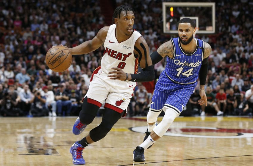 MIAMI, FLORIDA - MARCH 26: Josh Richardson #0 of the Miami Heat drives to the basket against the Orlando Magic during the game at American Airlines Arena on March 26, 2019 in Miami, Florida. NOTE TO USER: User expressly acknowledges and agrees that, by downloading and or using this photograph, User is consenting to the terms and conditions of the Getty Images License Agreement. (Photo by Michael Reaves/Getty Images)
