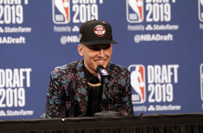 BROOKLYN, NY - JUNE 20: Tyler Herro is interviewed after being drafted to the Miami Heat during the 2019 NBA Draft on June 20, 2019 at the Barclays Center in Brooklyn, New York. NOTE TO USER: User expressly acknowledges and agrees that, by downloading and/or using this photograph, user is consenting to the terms and conditions of the Getty Images License Agreement. Mandatory Copyright Notice: Copyright 2019 NBAE (Photo by Ryan McGilloway/NBAE via Getty Images)