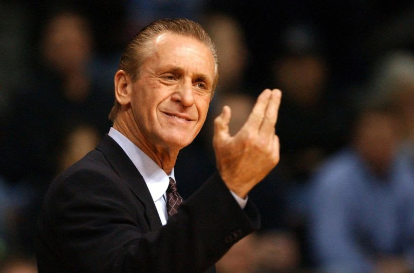 Miami Heat head coach Pat Riley gestures as his team plays against the Detroit Pistons during the first quarter of their NBA game at the Palace in Auburn Hills (JEFF KOWALSKY/AFP via Getty Images)
