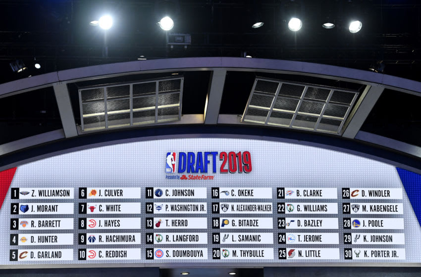 The first round draft board is seen during the 2019 NBA Draft at the Barclays Center on June 20, 2019. (Photo by Sarah Stier/Getty Images)