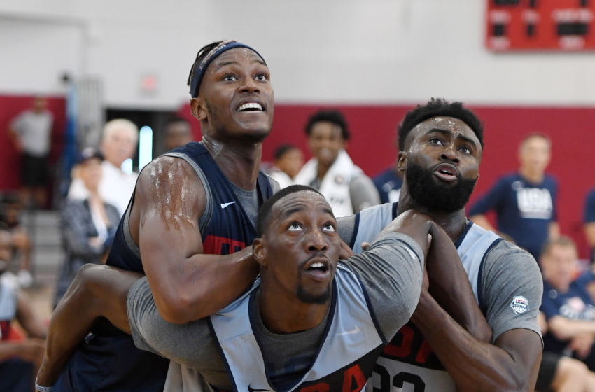 Myles Turner #56, Bam Adebayo #39 and Jaylen Brown #33 of the 2019 USA Men's National Team fight for position for a rebound during a practice session at the 2019 USA Basketball Men's National Team World Cup minicamp (Photo by Ethan Miller/Getty Images)